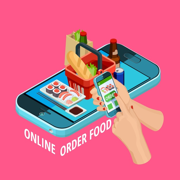 Online-essensbestellung isometrisches e-commerce-poster Kostenlosen Vektoren