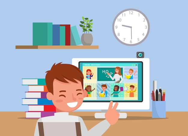 Online-fernunterricht für kinder während des coronavirus. soziale distanzierung, selbstisolation und stay-at-home-konzept. nr. 6 Premium Vektoren