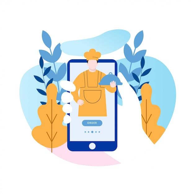 Online food order mobile apps design Premium Vektoren
