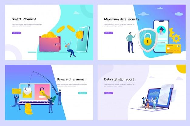 Online-geldtransfer-vektor-illustration, schutzkonzept für digitale daten, online-zahlung, phishing-betrug, kreditauskunft Premium Vektoren