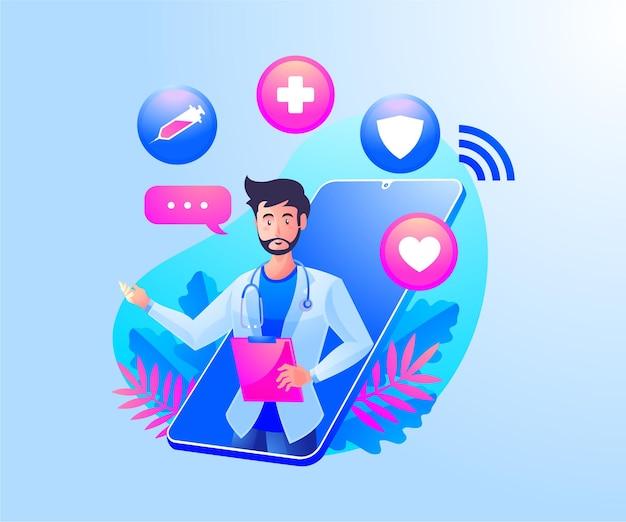 Online-gesundheitsberatung mit ärzten und einem mobilen smartphone Premium Vektoren
