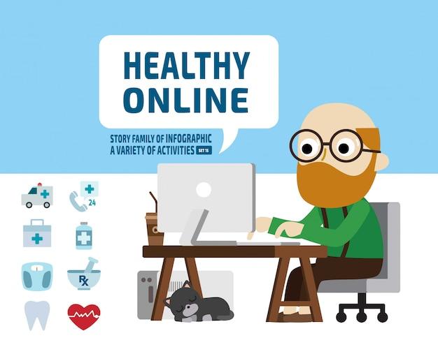 Online-gesundheitsfürsorgekonzept für ältere forschung. infografik-elemente. Premium Vektoren