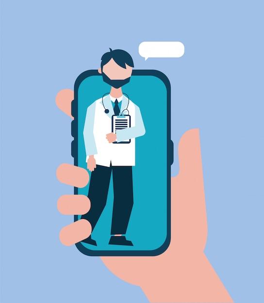 Online-gesundheitstechnologie mit arzt smartphone Premium Vektoren