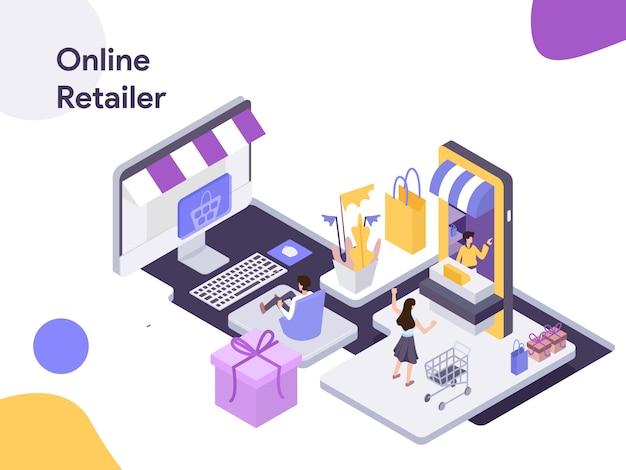 Online-händler-isometrische illustration Premium Vektoren