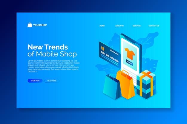 Online-homepage für isometrisches design-shopping Kostenlosen Vektoren