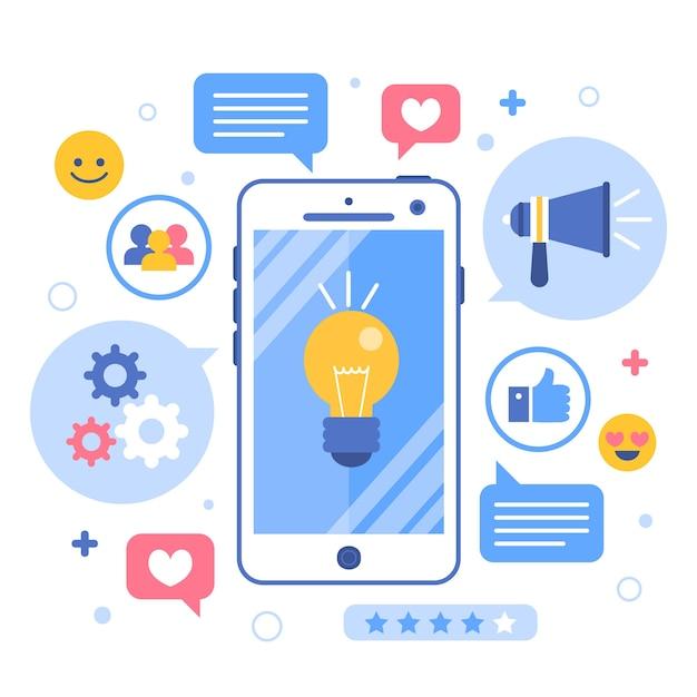 Online-innovation und brainstorming-marketing-handy-konzept Premium Vektoren