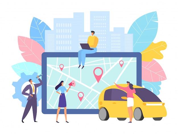 Online-kartennavigation für auto am großen tablett, abbildung. geschäftsleute in der nähe des geräts mit transportanwendung Premium Vektoren