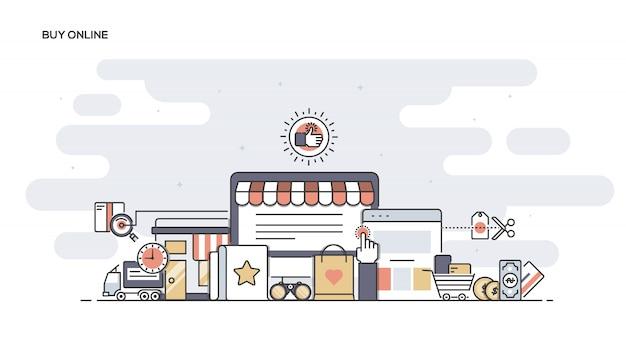 Online kaufen line ed banner Premium Vektoren