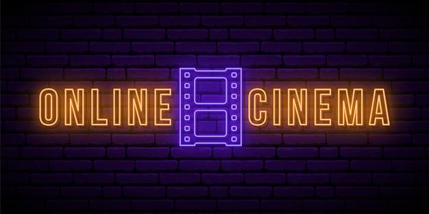 Online-kino leuchtreklame. Premium Vektoren