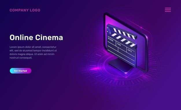 Online-kino oder film, isometrisches konzept Kostenlosen Vektoren