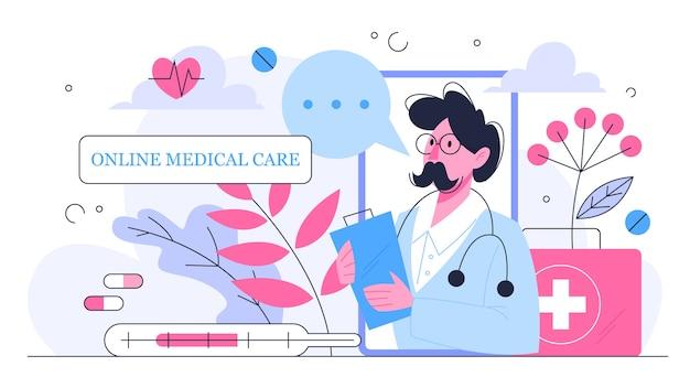 Online-konsultation mit dem arzt. medizinische fernbehandlung auf dem smartphone oder computer. mobiler dienst. idee, sich von überall medizinisch behandeln zu lassen. illustration Premium Vektoren