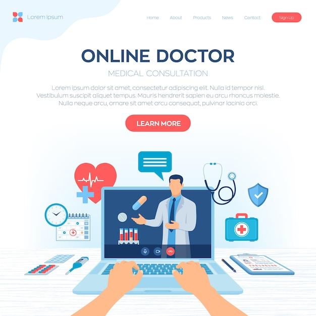Online-konzept für medizinische beratung und unterstützungsdienste. doktor videoanruf auf laptop-bildschirm. e-health-service für telemedizin. Premium Vektoren