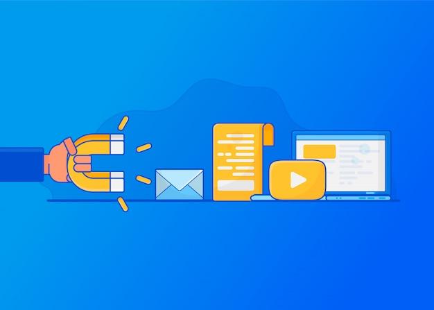 Online-kunden gewinnen. digital inbound marketing, Premium Vektoren