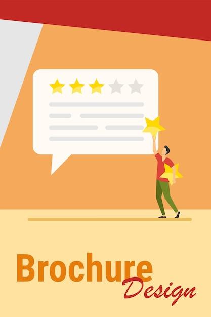Online-kundenfeedback. mann, der rate sterne an chat-blase flache vektor-illustration anwendet. marketing-, zufriedenheits-, bewertungskonzept für banner, website-design oder landing-webseite Kostenlosen Vektoren