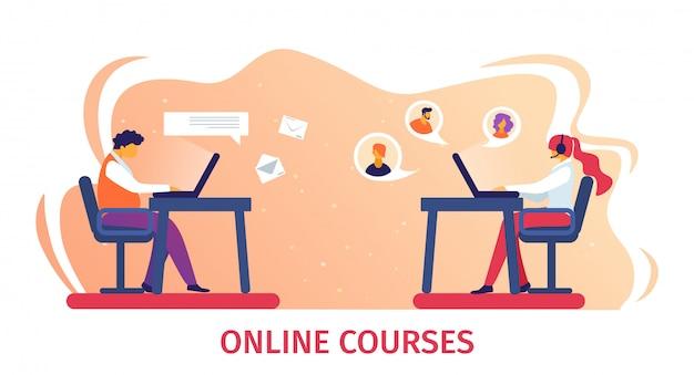 Online-kurse banner. fernstudium im internet. Premium Vektoren