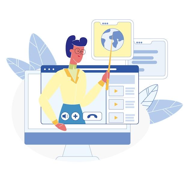 Online-kurse, klassen flache illustration Premium Vektoren