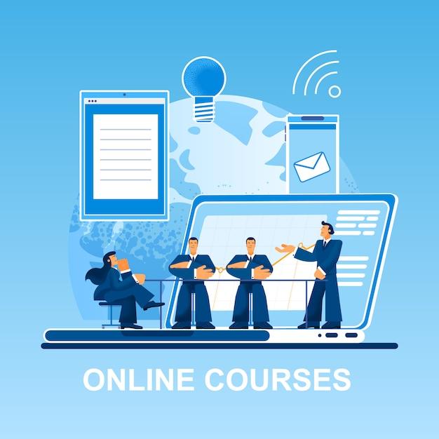 Online-kurse kleine leute auf laptop Premium Vektoren