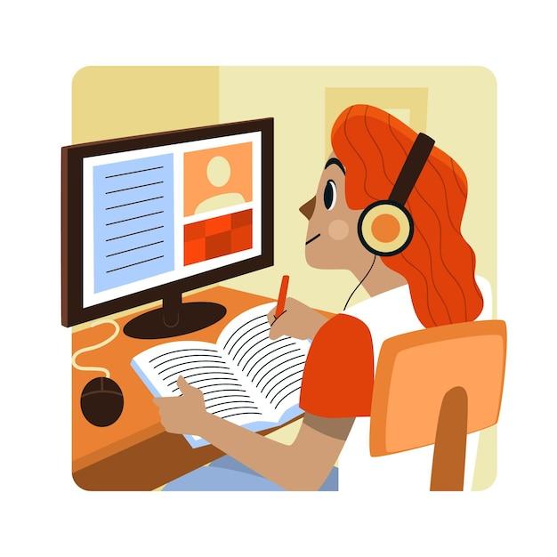 Online-kurskonzept Kostenlosen Vektoren