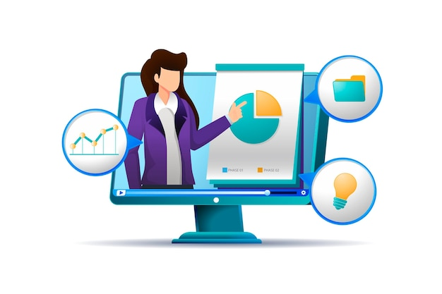 Online-kurslehrer mit infografiken Kostenlosen Vektoren