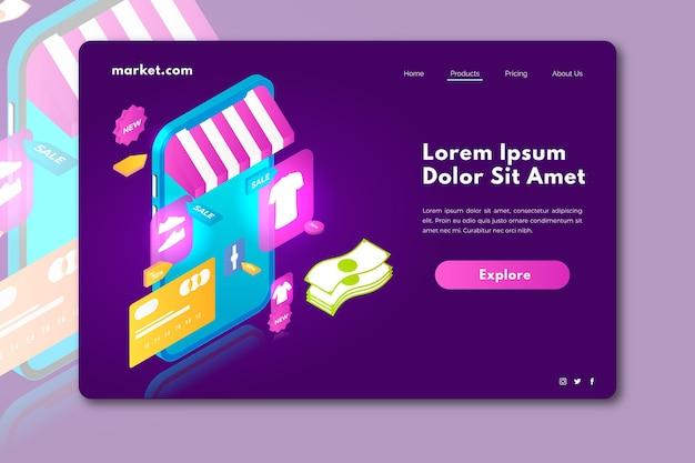 Online-landingpage für isometrisches einkaufen Kostenlosen Vektoren