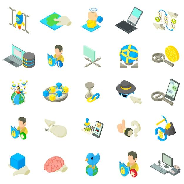 Online-leben-icon-set Premium Vektoren