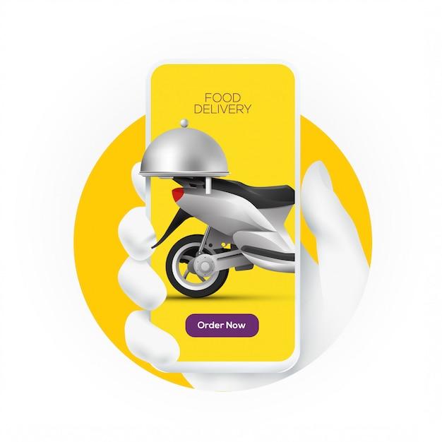 Online-lebensmittelbestelldienst-banner-konzept mit weißer hand-silhouette, die smartphone mit lieferroller auf bildschirmanzeige hält. . Premium Vektoren