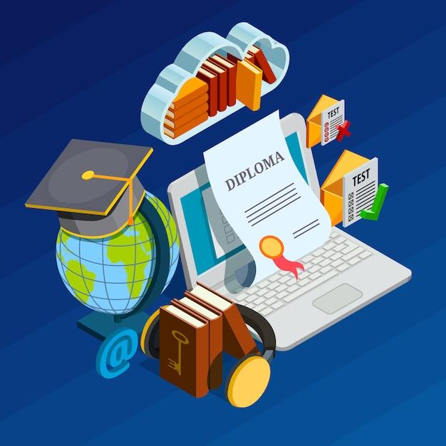 Online lernendes isometrisches konzept Kostenlosen Vektoren