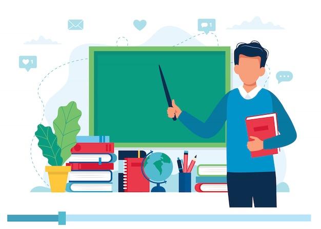 Online-lernkonzept. lehrer mit büchern und tafel, videolektion. Premium Vektoren