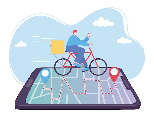 Online-lieferservice, fahrradfahren auf smartphone-tracking, schneller und kostenloser transport, bestellversand, abbildung der app-website Premium Vektoren