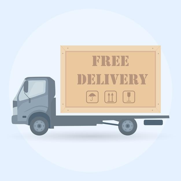 Online-lieferservice-konzept. lkw auf hintergrund. ð¡ourier liefert die bestellung per van. schneller versand von lebensmitteln per auto. Premium Vektoren