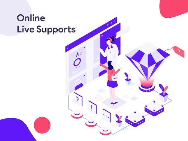 Online live support isometrische illustration Premium Vektoren
