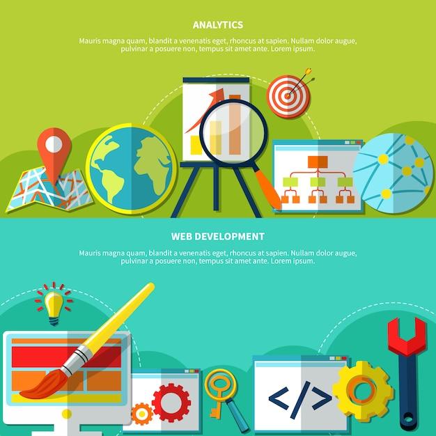 Online-marketing-banner eingestellt Kostenlosen Vektoren