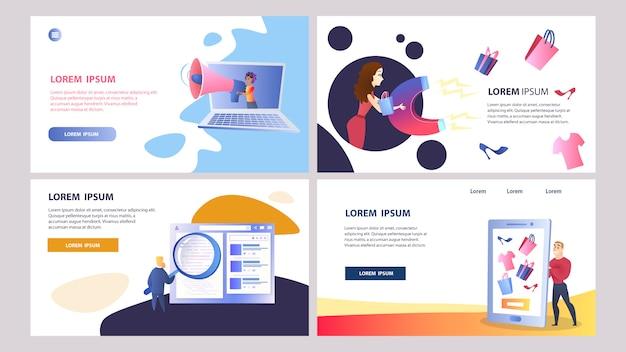 Online-marketing-set von farbvorlagen Premium Vektoren