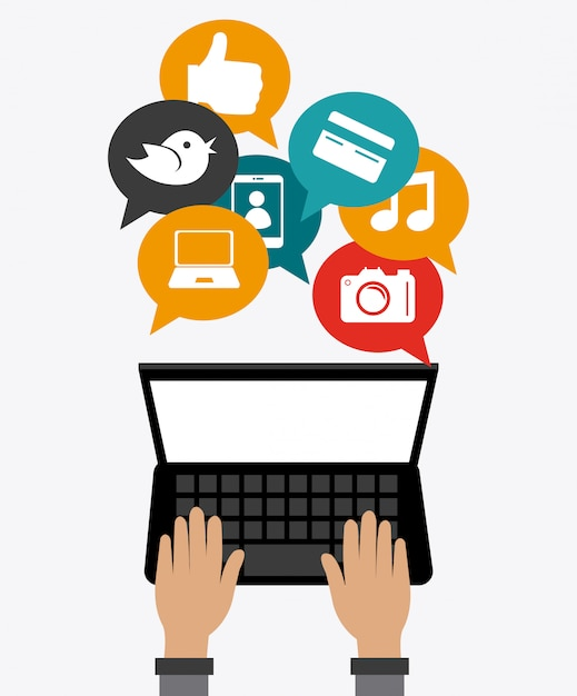 Online-mediengestaltung. Premium Vektoren