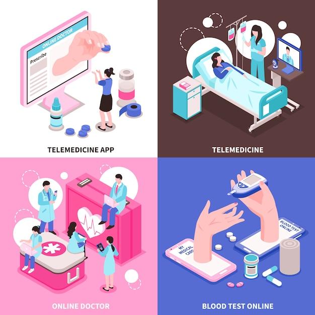 Online-medizin 2x2 design-konzept mit ärzten und medizinischen geräten auf 3d-isometrie des bunten hintergrunds Kostenlosen Vektoren