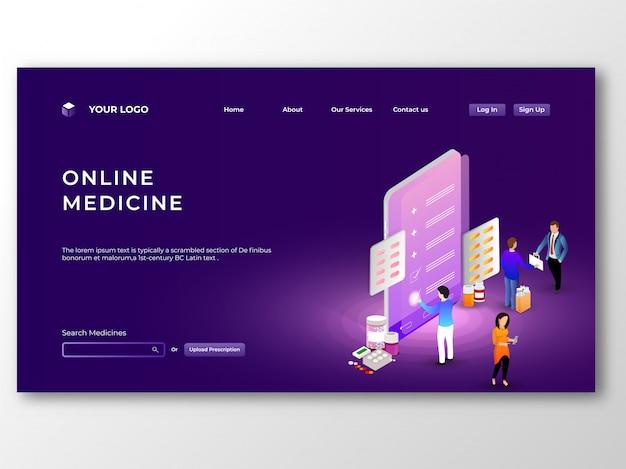 Online-medizin von mobilen app-konzept zur verfügung gestellt. online-medizin Premium Vektoren