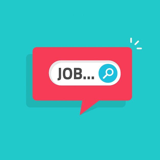 Online-mitteilungsbenachrichtigungsillustration der jobsuche flach Premium Vektoren