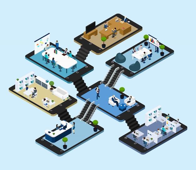 Online office isometrische ikone Kostenlosen Vektoren