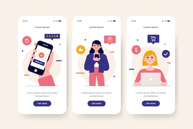 Online-onboarding-app-bildschirme kaufen Kostenlosen Vektoren