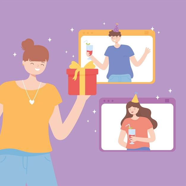 Online-party, glückliches mädchen mit geschenk und leute, die durch smartphone-vektorillustration verbunden feiern Premium Vektoren