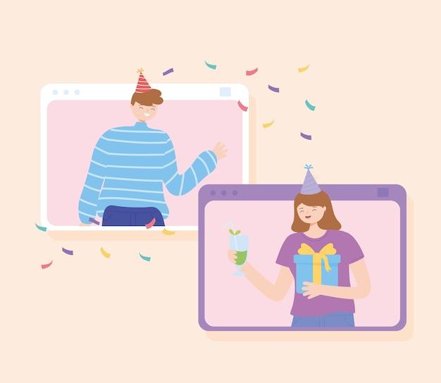 Online-party, leute an einer online-quarantäneparty-vektorillustration Premium Vektoren