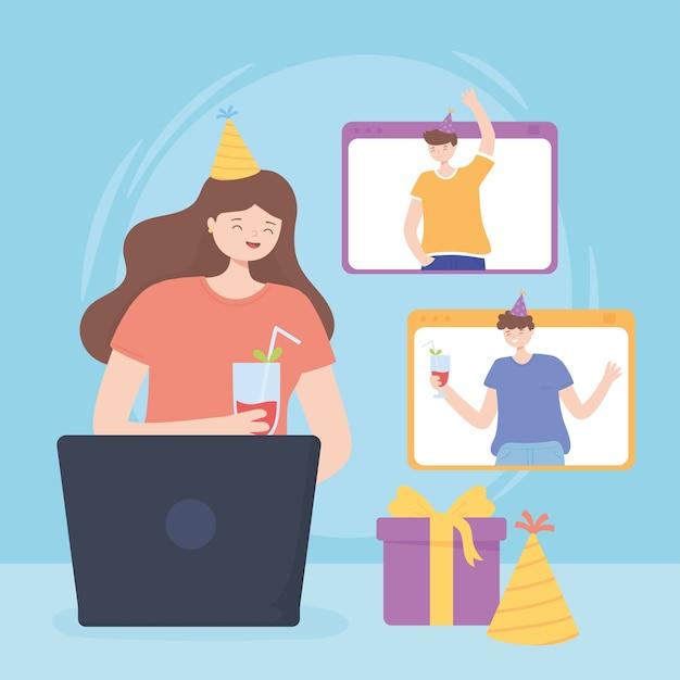 Online-party, menschengeburtstagsfeier während der quarantäne Premium Vektoren