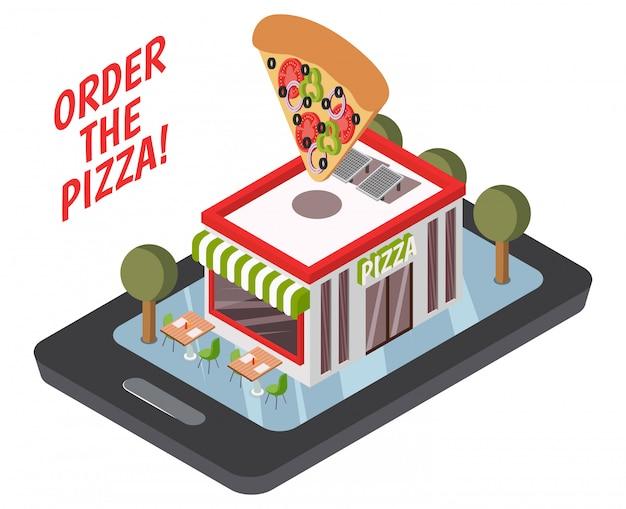 Online pizzeria isometrische zusammensetzung Kostenlosen Vektoren