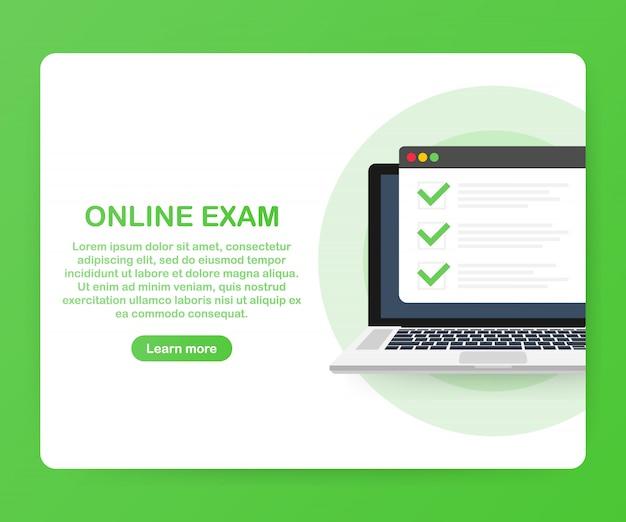 Online-prüfung computer-web-app-vorlage Premium Vektoren