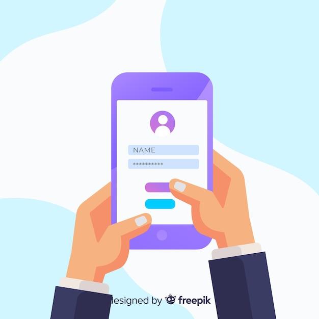 Online-registrierungskonzept mit flacher bauform Kostenlosen Vektoren