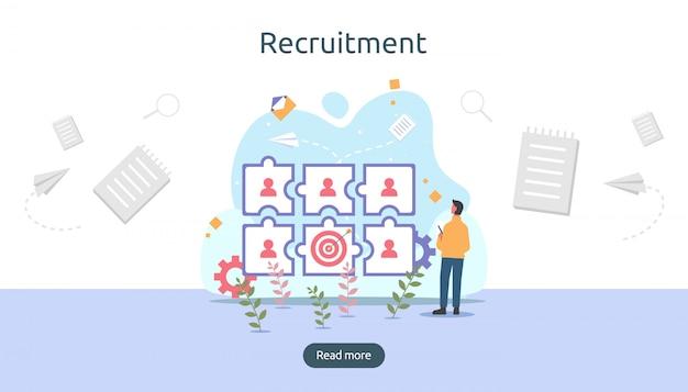 Online-rekrutierung. Premium Vektoren
