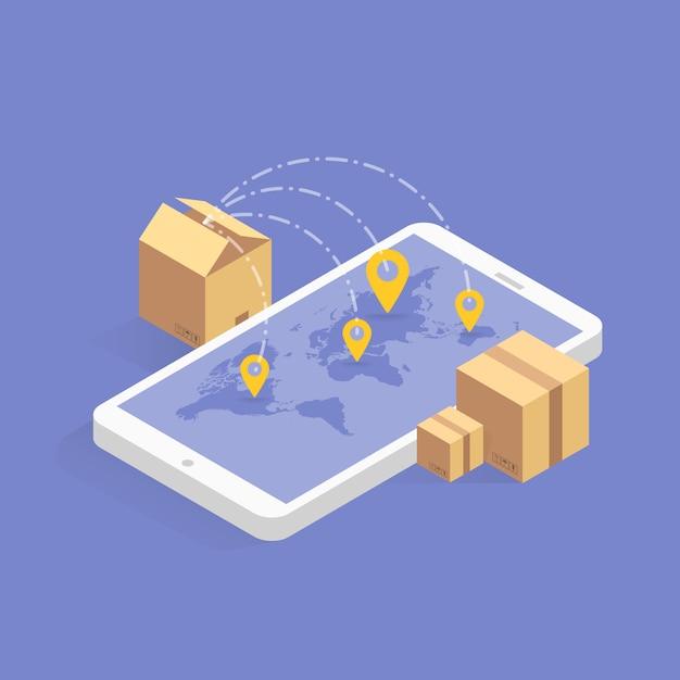Online sendungsverfolgung isometrische symbol. illustration. intelligente post-technologie auf dem digitalen tablet oder handy. track checker-anwendung Premium Vektoren
