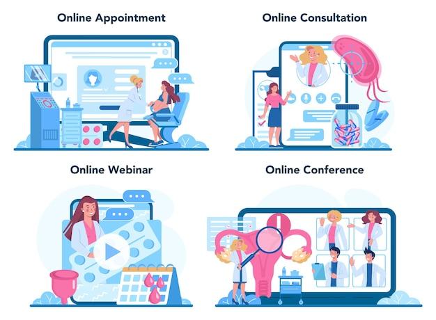 Online-service für gynäkologen oder plattformset. menschliche anatomie, eierstock und gebärmutter. Premium Vektoren