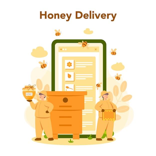 Online-service oder plattform für hiver oder imker. professioneller bauer mit bienenstock und honig. online-lieferung von honig. bienenhaus, imkerei und honigproduktion. vektorillustration Premium Vektoren