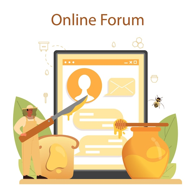 Online-service oder plattform für hiver oder imker. professioneller landwirt Premium Vektoren
